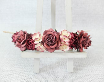 Burgundy flower crown - wedding floral hair wreath - halo - garland - hair accessories - flower girl