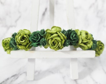 Flower crown - green flower headpiece - flower girl hair wreath accessories - floral hair garland
