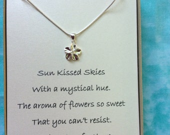 Sterling Silver necklace and flower pendant w/ poem