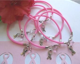 Breast Cancer awareness pink charm bracelets