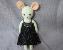 Doll handmade cloth fabric mouse, rag doll, small art doll, white, soft stuffed girls toy Christmas gift, daughters gift, polka dot dress