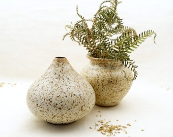 Ceramic Vase Set, Unique Flower Vases, Speckled Rustic White Glaze, Wheel Thrown Ceramic Vases, Unique Gift Idea.