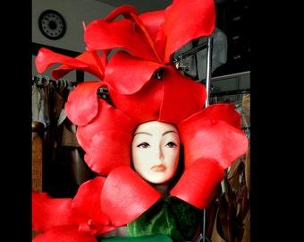 Flower Fairy Headdress. Beautiful flower costume masquerade mask. Red burlesque lily adult carnival hat. Handmade.