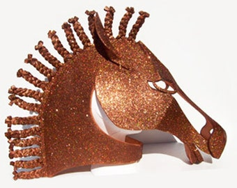 Horse Masquerade Mask, Bronze Sparkles. Hand made animal friendly headdress for men or women. Costume headpiece made by tentaclestudio.