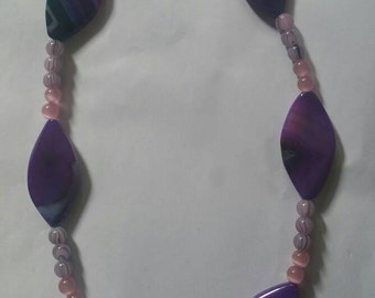 Purple and Pink necklace, pink necklace, purple necklace, purple beads, pink beads, glass beads