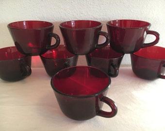 Anchor Hocking Ruby Red Glass Cups Set of 8