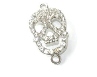Connector / interlayer skull - rhinestone silver