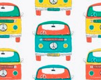 "Fabric Freedom Retro Road Trip ""VW Bus"" Quilting Fabric Colorway 2 - By the Yard"