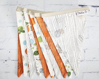 Beige and Orange Animal Bunting 10 flags for bedroom decoration