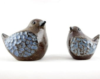 Wall Trosa Pottery Birds / Vintage Swedish Ceramics/ Midcentury / 1960s Turquoise Paperweights /Scandinavian Retro/ Engagement or Wedding