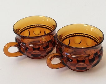 Vintage Kings Crown Glassware Amber Glass Mugs, Set of Two