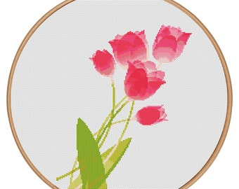 MORE for FREE - Pink Tulips - Counted Cross stitch pattern PDF - Instant Download - Cross Stitch Pattern - Flowers-Love- Needlepoint #1503
