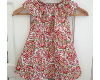 Toddler Girls Dress Size 2 / Paisley Floral Peasant Dress / kids clothing / babies clothing /  sizes 2 years 24 months  / peasant dress