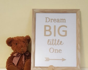 Wall hanging baby nursery or children's picture frame - 'Dream Big Little One'