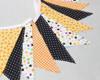 Halloween Bunting Flag, Fabric Banner, Halloween Baby Shower, Black Orange Fabric Bunting, Halloween Party,  Pumpkin Baby Shower