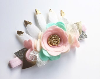 Baby Crown Headband - Floral Hair Accessories - Baby Flower Headbands - Wild One Crown - Birthday Headband - Floral Headpiece