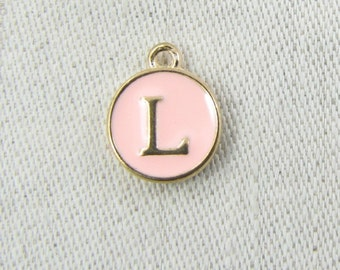 "Pink and Gold Enamel Letter ""L"" Charm, 1 or 5 letters per package  ALF003l-P"