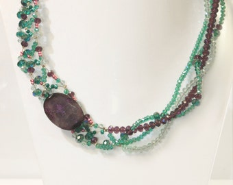 Semi precious stone Agate and crystal beads long necklace