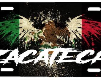 """Zacatecas  Mexico Aluminum License Plate Placa  6"""" x 12"""""""