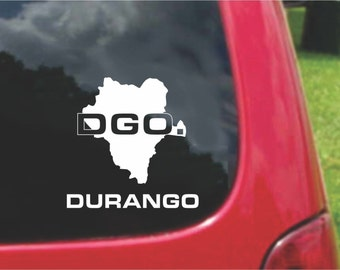 2 Pieces Durango Mexico Outline Map  Stickers Decals 20 Colors To Choose From.  U.S.A Free Shipping