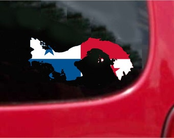 2 Pieces Panama Outline Map Flag Vinyl Decals Stickers Full Color/Weather Proof. U.S.A Free Shipping