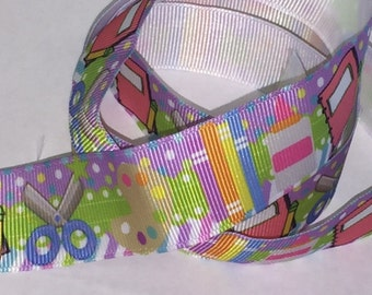 1 inch Colorful School Supplies - Back to SCHOOL   -  Printed Grosgrain Ribbon