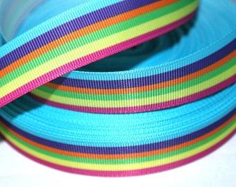 7/8 inch Pretty Horizontal Stripes (aqua and hot pink border) - Printed Grosgrain Ribbon for Hair Bow