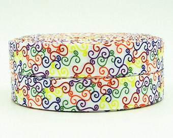 7/8 inch  - COLORFUL SWIRLS On White - Style S1003  - Printed Grosgrain Ribbon  for Hair Bow
