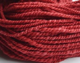 Merino Wool Chunky Yarn 2 ply hand spun hand dyed Australian Merino Red 11583