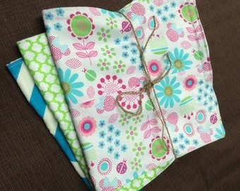 Baby Girl Burp Cloths-- Color Scheme Pink /Chevron/Floral/Green Set of 3