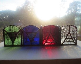 Elements Earth Air Water Fire Wicca Pagan Witchy Stained Glass Votive Alter Candles