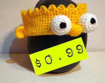 SUMMER SALE Bart Simpson Headband PDF Crochet Pattern (With Pictures and Step-by-Step Instructions for Beginners and All The Simpsons Fans)