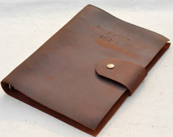 Personalized Notebook,Refillable leather journal with the Binder design, Unique Gift(free stamp words)