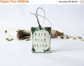 ON SALE Ceramic Jewelry Inspirational Quote Forrest Green Pendant Car Accessories Hippie Jewelry Festival Jewelry Rustic Necklace Spiritual
