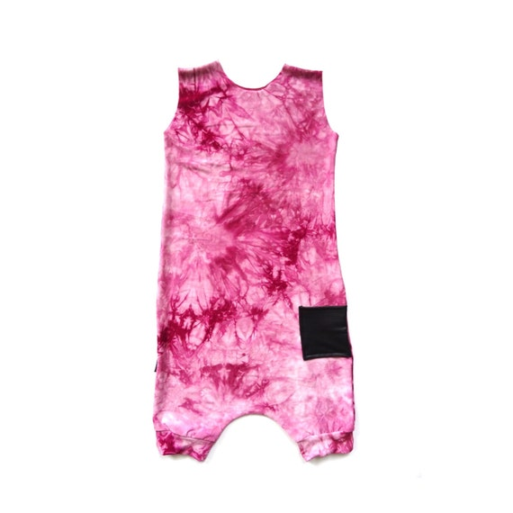 SALE Pink Tie Dye Bamboo Crop Romper Hipster Baby Clothes