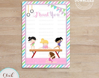 Gymnastic Thank you card, Note card, girl gymnast tumbling, Birthday party decorations, Party supplies, Instant Download