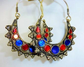 Afghani Tribal-Hoopearrings, Crescent Earrings, Vintage Tribal Earrings