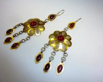 Turkmen goldwashed Sterling Silver Earrings with Carnelian