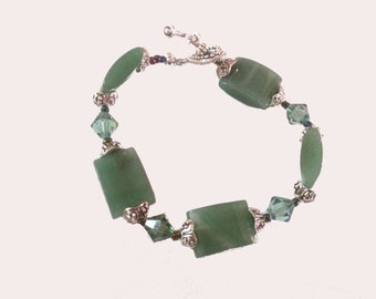 Green Jeweled Bracelet with silver accents