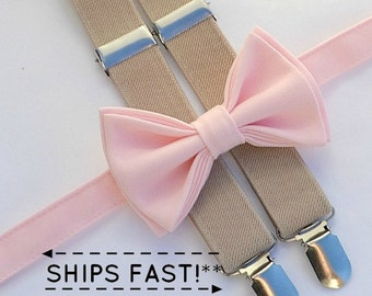Blush Bow Tie & Tan Suspenders with Blush Pocket Square -- Ring Bearer Outfit -- Bow Tie Suspenders Pocket Square for Groom and Groomsmen