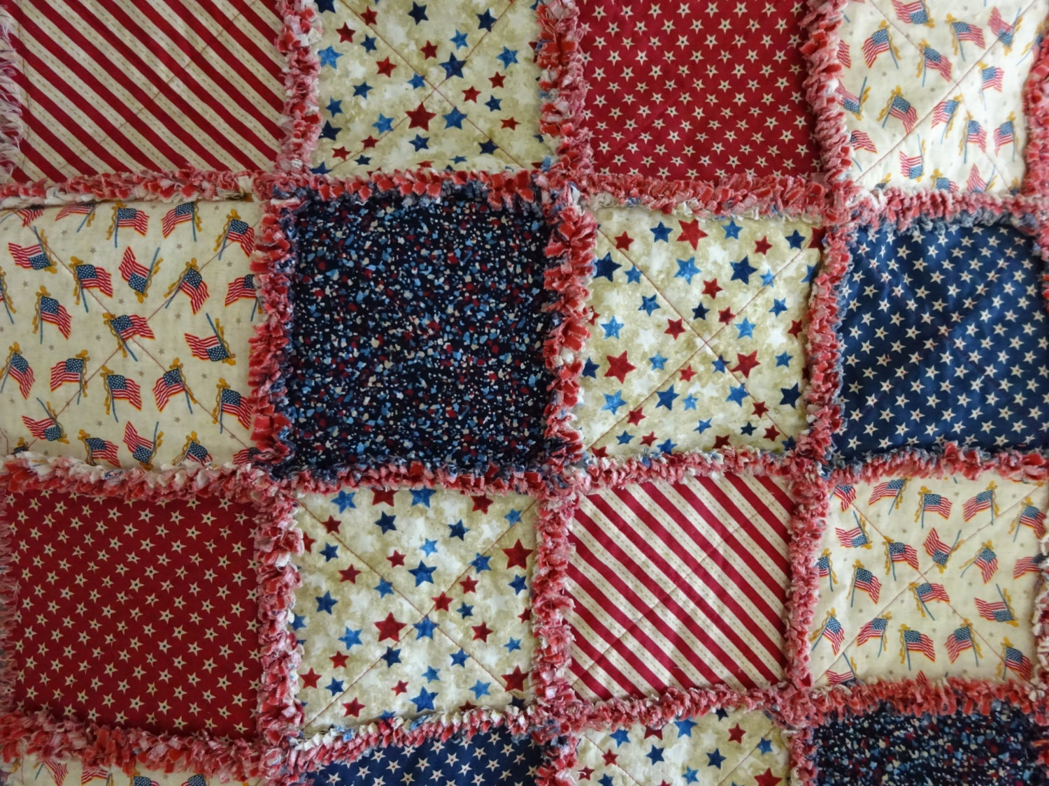 Patriotic Rag Quilt Red White And Blue Rag By