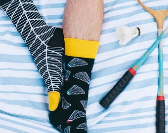 Badminton Time Socks | men socks | colorful socks | funny socks | mismatched socks |women socks | summer socks | crazy socks | Many Mornings