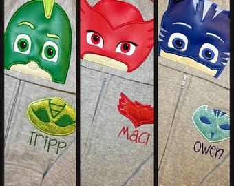 PJ Masks Inspired Hoodie Zip Jacket -Kids thru Adult Sizes - Gekko, Owlet, Cat Boy, Luna Girl, Romeo, Night Ninja