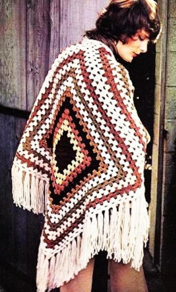 Crochet Boho Hippie Granny Square Poncho Pattern Vintage