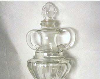 "Weekend Super Sale! Vintage Glass Jar Decanter Bottle With Stopper 8 1/2"" Tall"