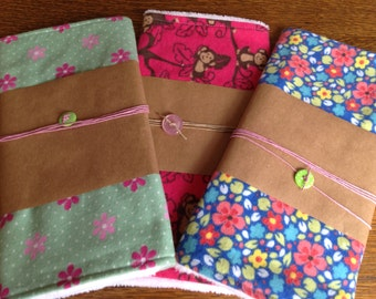 Flannel baby burp cloths. Pink, green,blue flowers and monkeys!