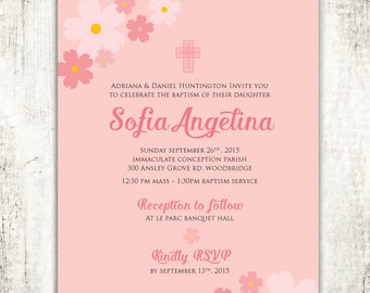 Fun and Floral Baptism Christening Confirmation Religious Invitation // Pink Flowers// Cross // Baby Girl // PRINTED Invites