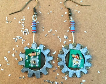 Handmade Steampunk PCB Earrings
