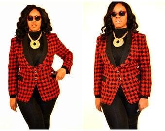Vintage Plus size blazer/ Vintage plus size/ Vintage houndstooth blazer/ Size 16