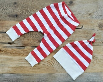 Red And White Striped Leggings For Baby